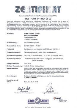 BEWE Stahl- und Metallbau - Zertifikat